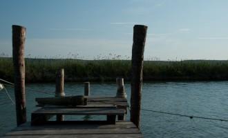 in Lucija: Steg beim Ribic
