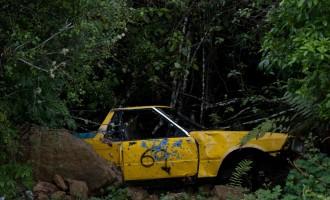 nicht jeder Autofahrer beherrscht das Kurvenfahren am Forgotten World Highway