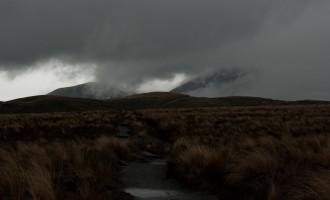tussock-Hochebene, in den Wolken: Mt. Ngauruhoe