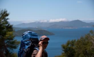 Verschnaufpause am Eatwell´s Lookout, mit 15 kg Gepäck am Rücken wohlverdient!