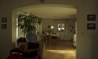 Blick vom Wohnzimmer auf die Essecke