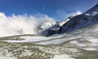 Blick nach Westen von der Stüdlhütte aus, mit Neuschneefall über Nacht