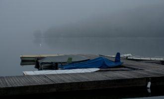 dicker Morgennebel über dem Bohinjsko-See