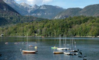 jede Menge Kayaks und Kanus am Bohinjsko-See