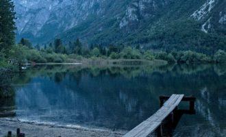 Abendstimmung beim Camp Ukanc am Westende des Bohinjsko-See